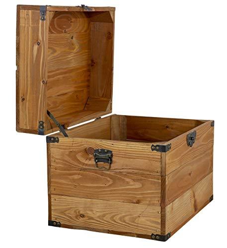 1x Tolle Truhe mit Deckel, aus Holz, mit Metallbeschlägen an den Ecken & Aufdruck, zur Aufbewahrung von Kleinkram, neu, 45x35x35cm - 3