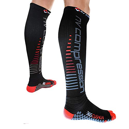 NV Compression 365 Cushion Calze a Compressione - Nero - Cushioned Compression Socks (Pair) 20-30mmHg - for Sports Recovery, Work, Flight - Running, Cycling, Soccer, (Nero/Rosso Strisce, Large)