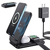 Wireless Charger Stand, Letlar 3 in 1 Wireless Charging Station, Foldable Qi 15W Fast Charging Stand Compatible with iPhone 12/11/11 Pro/XR/Xs/8/8P/Samsung, iWatch SE 6 5 4 3 2, AirPods 2/Pro(Black)