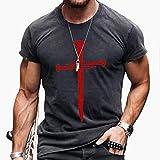 Camiseta de hombre vintage Faith Jesús Cross Casual T-Shirts, pintura al óleo Print Gym Vest Red-M