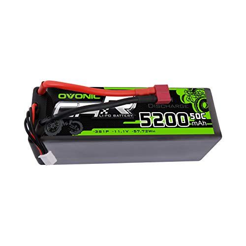 OVONIC Batteria 3S Lipo 50C 5200mAh 11.1V Batteria Lipo Hardcase con connettore a T stile Dean per 1/8 o 1/10 RC Auto RC Aereo RC Elicottero RC Barca
