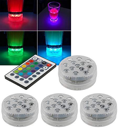 Unterwasser Leuchten 4 Stück IP68 Wasserdicht LED Licht für Pool Teich Badewanne RGB Lampe mit Farbwechsel für Pool Teich Badewanne 5 Modi 5 statische Farben einstellbar