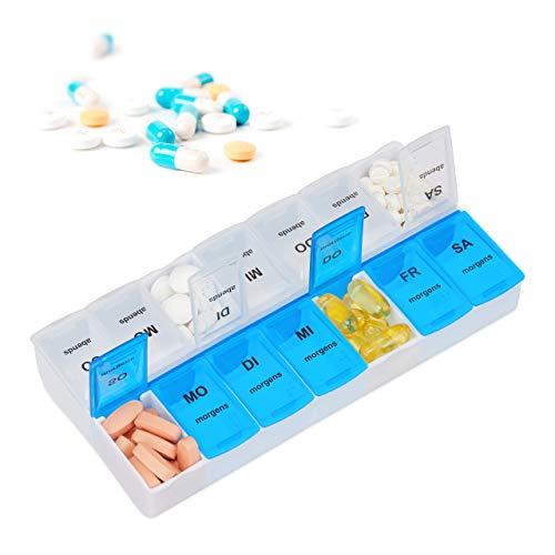 Relaxdays Tablettenbox für 7 Tage, 2 Fächer, morgens, abends, wöchentliche Pillendose für Zuhause & unterwegs, weiß-blau