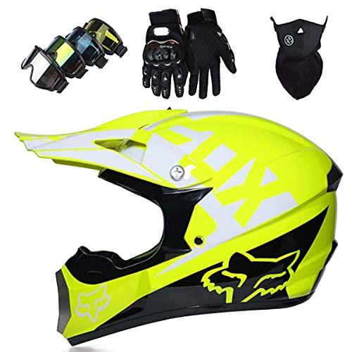 SORE Casco Moto Niño, MJH-01 Cascos De Motocross De Moto,Enduro,Descenso,Full Face para...