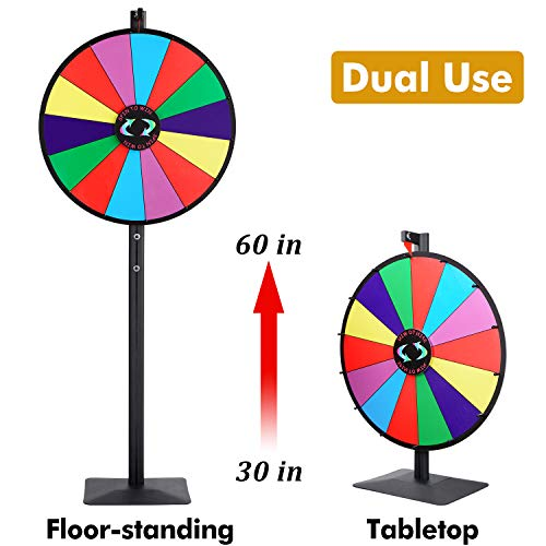 T-SIGN 24 Inch Dual Use Spinning Prize Wheel Stand, Tabletop or Floor Spinner Stand, 14 Colorful Slots with Dry Erase Marker and Eraser Win The Fortune Spin Game for Carnival and Trade Show