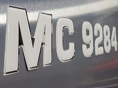 Boat Jetski Registration Numbers  Pontoon Style Domed Decal 16 Pcs Solid Chrome