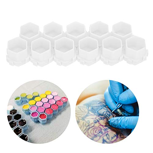 Tasses d'encre de tatouage 200Pcs Tasses d'encre de tatouage Forme de nid d'abeille Tasses de support de pigment Fournitures de maquillage permanent Kits de tatouage Fournitures(blanc)