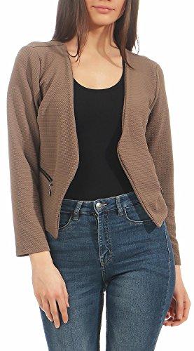 malito dames Blazer zonder kraag | Jasje in Basic Look | Kort jasje met rits | Jasje - Jacket - Blouson 6040 (fango, S)