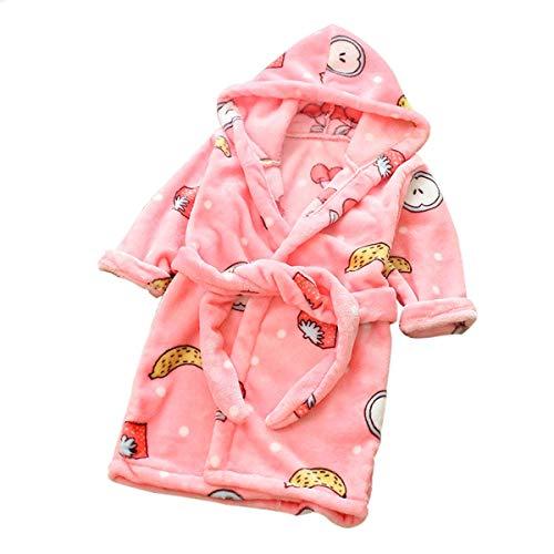 DEBAIJIA Säugling Bademantel 0-14T Baby Hausmantel Kleinkind Handtuch Robe Kinder Morgenmantel Pyjama Unisex Mädchen Junge Flanell (Rosa-90)