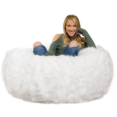 White Furry Memory Foam Bean Bag Chair
