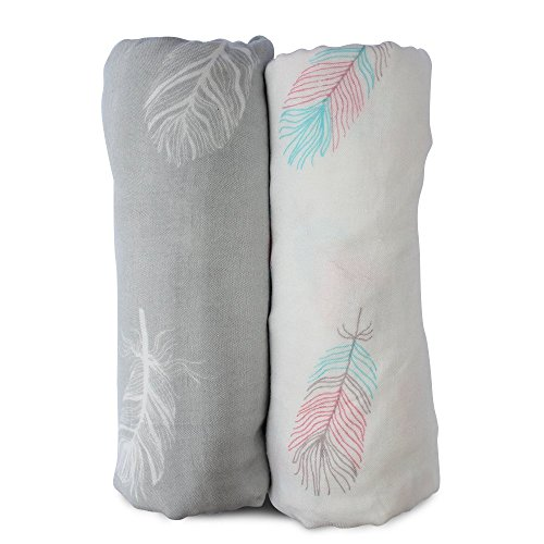 Muslin Swaddle Blankets Large Size - Soft Breathable Bamboo Cotton Prevents Overheating Set of 2 Gender Neutral Design - Nursing Cover Swaddling Blanket - Feather Print Boy Girl - Burp Cloth