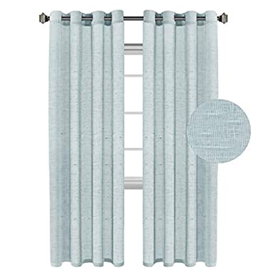 H.VERSAILTEX Linen Sheer Curtains,Pair Set Nickel Grommet Window Treatment Panels for Living Room, Open Weave-Teal - 52  W x 96  L