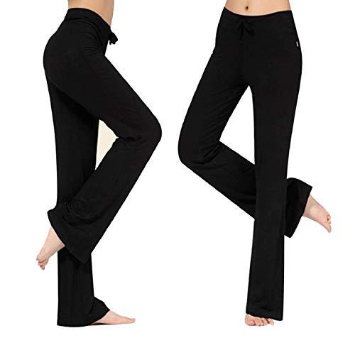 CMTOP Pantalones de Yoga Pilates para Mujer Algodon Alta Cintura Elásticos pantalón de Campana con cordón Casuales Chandal Deportivo para Pilates Yoga Jogger Fitness