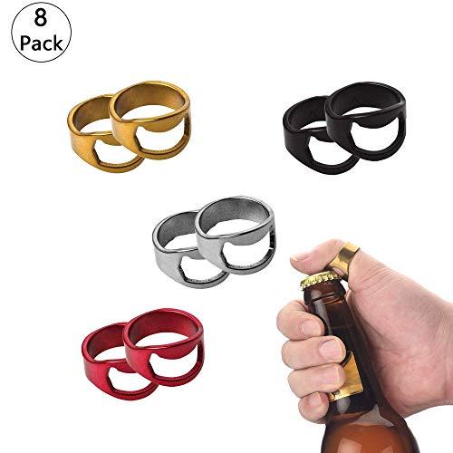 8 Stuck Edelstahl Flaschenöffner Ring, 4 farben, Bieröffner Ring, Flaschenöffner Ring, Flaschenöffner-Ring mit 22mm Innen-Durchmesser (Kapselheber)