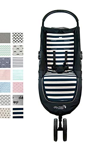 Fundas BCN  - F61 - Materassino per passeggino Baby Jogger City Mini , City Mini 3  e City Mini 4  - Paris Stripes