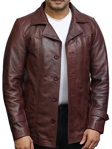 BRANDSLOCK Herren Braun italienischen Leder Blazer Jacken weich und elegant leicht gewachst echtes Leder BNWT (Medium)