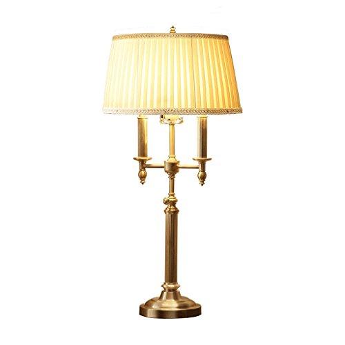Ywyun Lampe de table chandelier verticale en cuivre européen, lampe de sol rétro de luxe, éclairage d'étude de chambre salon moderne, abat-jour en tissu plissé blanc (Taille : Table lamp)