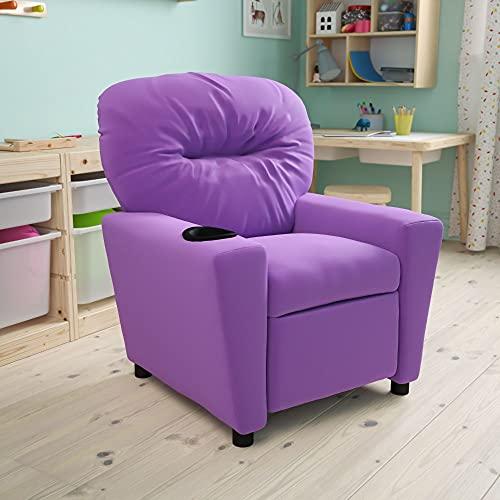 Flash Furniture Lavender Kids Recliner with Cup Holder