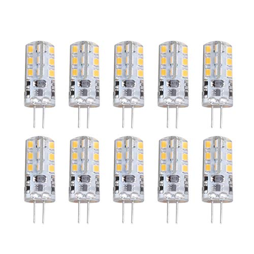 Pixnor 10 Stück G4 12 V ACDC 3,5 W 24 SMD 2835 LED 3000 K Energiesparlampe LED Lampen (warmweiß)