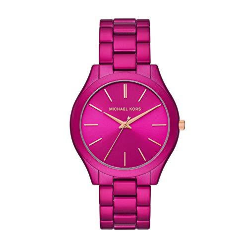 Michael Kors Women's Slim Runway Quartz Watch with Stainless Steel Strap, Pink, 20 (Model: MK4414)