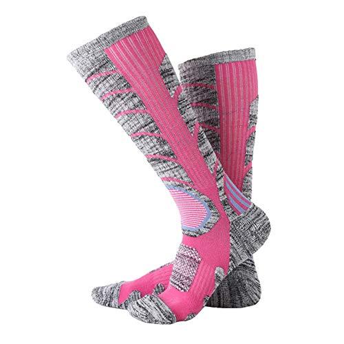 XQxiqi689sy Wintersocken, atmungsaktiv, für Damen und Herren, Sport, Outdoor, Wandern, lange Thermo-Socken aus dicker Baumwolle, Rosa rossa, MNone