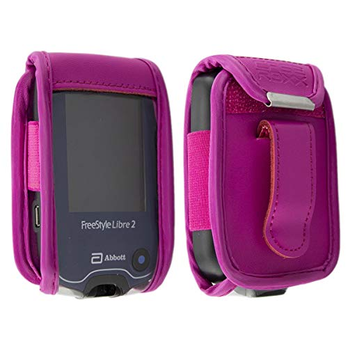 caseroxx Ledertasche mit Gürtelclip für Freestyle Libre 1/2 / Insulinx / 14 Day, Tasche (Ledertasche mit Gürtelclip in pink)