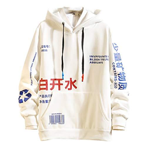 AKAIDE Herren Hoodies Casual Patchwork Pullover Langarm T Shirts Mode Kapuzen Hip Hop Tops Chinesische Drucken Sweatershirts Herbst Winter Warm Pullover Pullover für Männer Gr. XL, weiß