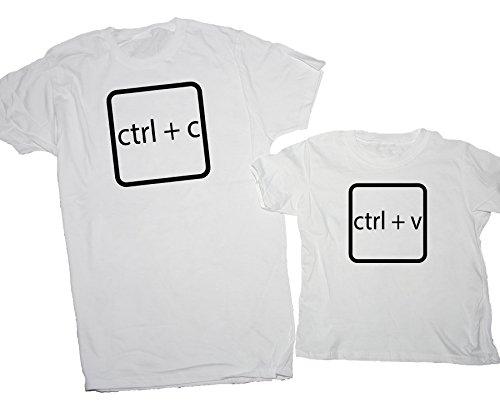 iMage T-Shirt Festa del papà Coppia Nerd Pc Windows Copia incolla - Eventi Uomo L-Bambino 5-6 Anni Bianche