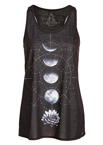 Schwarzes Damen Yoga Tank Top T-Shirt mit Lotus Blume und Mond Design – Gr. L