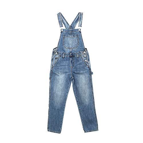 N\P Pantalones de mezclilla para mujer, tubo recto, sueltos y delgados, lindos pantalones de una pieza