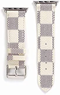 HeiL 42/44 Compatible Apple Watch Straps 42mm (fit for 44mm), Luxury Fashion PU Leather Classic Wrist Bands for Women and Men, Replacement for Apple Watch Series 4 3 2 1 42/44MM (White Checker)
