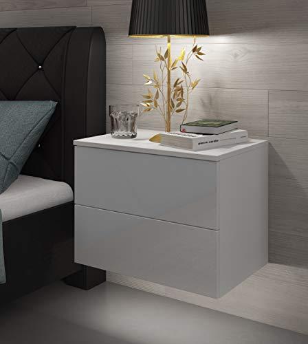 Nachttisch Lina Hängeschrank mit Schubladen Push to Open System und LED Beleuchtung Weiß Hochglanz HG Schlafzimmer Schlafzimmerkommode Nachtschrank (Weiß/Weiß Hochglanz)