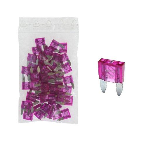 50 Flachstecksicherung Mini-Sicherung 3A / 32V / violet - Sicherung