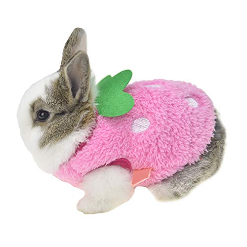 "FLAdorepet Winter Warm Bunny Rabbit Clothes Small Animal Chinchilla Ferret Costume Outfits (3XS(Bust 8.6""), Pink)"