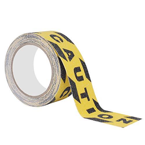 Cinta Antideslizante Seguridad con CAUTION, Cinta Adhesiva Respaldados Negro y Amarillo, Alta Tracción Fuerte Apretón Abrasivo para Escaleras, Escalón, Interior, Exterior (5M × 5cm)