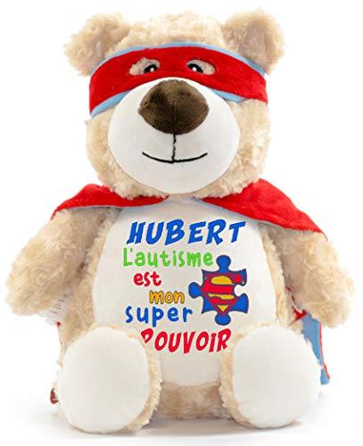 L'autisme est mon super-pouvoir Peluche personnalisée avec prenom / nom brodée pour la naissance d'un enfant, cadeau, doudou, baptême, fêtes, Noël