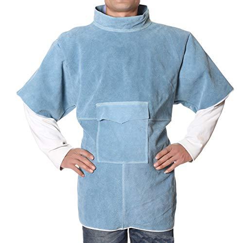 NXLWXN Tablier De Soudure Anti-Flamme Cuir De Vache Manteau Long Vêtements De Protection Vêtements Maillot Souple Cuir Durable Protection Supplémentaire,Bleu,XL