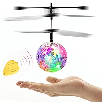 Mini Flying RC Ball, Toamen Crystal Hand Suspension Helicopter Aircraft Infrared Sensing Induction Flying Ball Drone Toy with Colorful LED Flashing Light & Remote Control