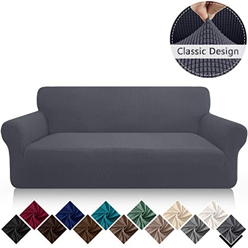 FAHUA High Stretch Couch Cover for 3 Cushion Couch 1 Piece Soft Sofa Cover Non Slip Washable Sofa Slipcover Furniture Protector with Elastic Bottom (Large, Gray)