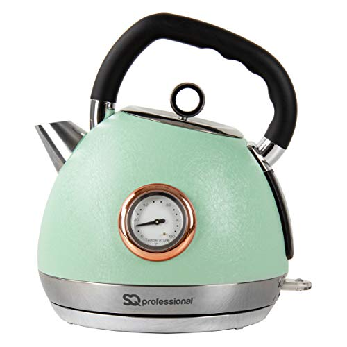 SQ Professional Epoque Green Electric Kettle with Rose Gold Accents & Temperature Display - 2200W - 1.8L Stainless Steel