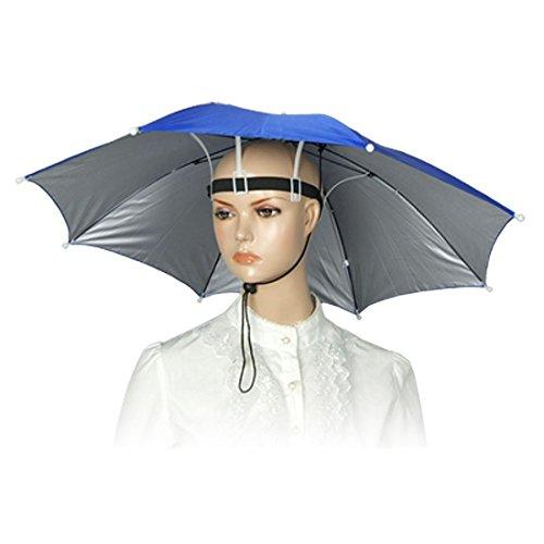 QHGstore Fischen-elastisches Stirnband Metallrahmen Hände frei Regenschirm Nylon Hut-Zufällige Farbe