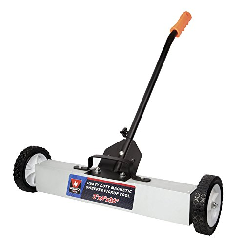 """NEIKO 53418A 36"""" Magnetic Pick-Up Sweeper with Wheels   30 Lbs Capacity   Adjustable Handle & Floor Magnet Clearance"""