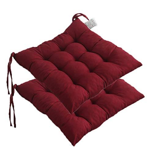 DPLLM 2er Set Stuhlkissen Stuhlauflage Sitzkissen Sitzpolster Auflage, 100% Polyester Baumwolle 40x40 cm Sitzkomfort für Stühle in Haus und Garten Kollektion Vivid