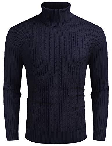 COOFANDY Pullover Herren Rollkragen Langarmshirt Feinstrick Rollkragenpullover Freizeit Slim fit Sweater Basic Männer