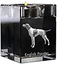 English Pointer, Crystal Candlestick, Candle Holder with Dog, Souvenir, Limited Edition