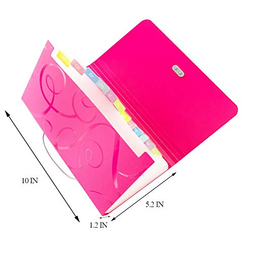 Ofilon Expanding File Folder, Pack of 2, 10 x 5 Inches, 13 Pocket Document File Folder with Tabs and Bungee Closure - Mini PP Wallet Organizer for Bills, Receipts, Coupons, Checks, Cards, Random Color Photo #5