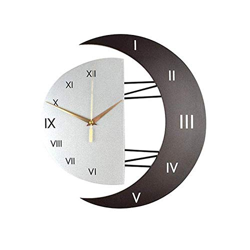 Wuciray Orologio de Parete da Muro Grande Design Moderno e Silenzioso Cornice a Forma di Luna per Casa Cucina Ufficio Cafe Orologio