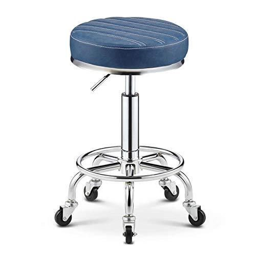 DWXN Mobiler Stuhl auf Rolle,Praxis Stuhl mit Blau PU Kunstleder Bezogener Sitz,Sitzhöhe ca. 45-55 cm,bis 160kg,Rollhocker für Friseur Facial Spa Medical Tatoo Stuhl Runde