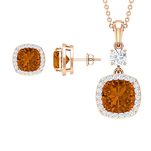 7.25 CT Classic Solitaire Jewelry Set con turmalina naranja creada y halo moissanitas (8 mm corte cojín de turmalina naranja creado) blanco