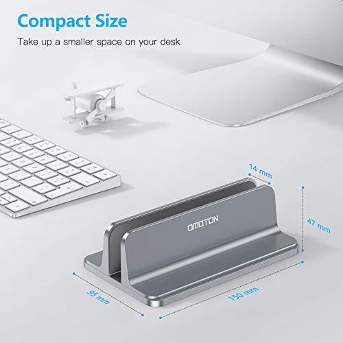 OMOTON platzsparend Laptopständer, Vertikaler Alulegierung Laptop Ständer für alle Tablets und 10-17.3 Zoll Laptops, z.B MacBook, Lenovo, Dell und mehr- Geeignet für 1 Laptop- Grau